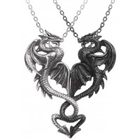 Draconic Tryst Double Dragon Gothic Friendship Necklace Jewelry Gem Shop  Sterling Silver Jewerly | Gemstone Jewelry | Unique Jewelry