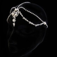 White Pearl and Rhinestone Forehead Drop Headpiece Jewelry Gem Shop  Sterling Silver Jewerly | Gemstone Jewelry | Unique Jewelry