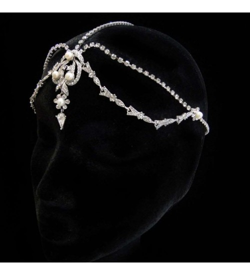 White Pearl and Rhinestone Forehead Drop Headpiece at Jewelry & Gem Shop,  Sterling Silver Jewerly | Gemstone Jewelry | Unique Jewelry