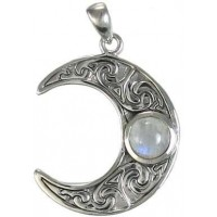 Crescent Moon Sterling Silver Pendant with Gemstone Jewelry Gem Shop  Sterling Silver Jewerly | Gemstone Jewelry | Unique Jewelry