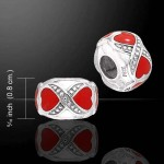 Double Heart Enameled Cylinder Sterling Silver Story Bead