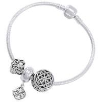 Celtic Knot Sterling Silver Bead Bracelet