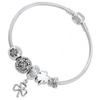 Lucky Irish Shamrock Sterling Silver Bead Bracelet