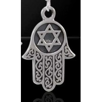 Hamsa Star of David Sterling Silver Pendant