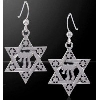 Chai Star of David Sterling Silver Earrings Jewelry Gem Shop  Sterling Silver Jewerly | Gemstone Jewelry | Unique Jewelry