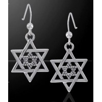 Double Star of David Sterling Silver Earrings