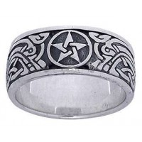 Pentacle Celtic Knot Sterling Silver Fidget Spinner Ring