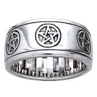Pentacle Sterling Silver Fidget Spinner Ring