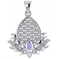 Lotus Flower of Life Amethyst Pendant Jewelry Gem Shop  Sterling Silver Jewerly | Gemstone Jewelry | Unique Jewelry