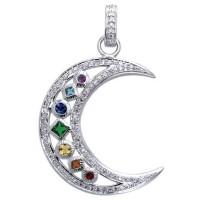 Silver Moon Gemstone Pendant