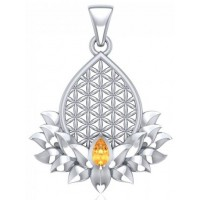 Lotus Flower of Life Citrine Pendant Jewelry Gem Shop  Sterling Silver Jewerly | Gemstone Jewelry | Unique Jewelry