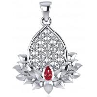 Lotus Flower of Life Garnet Pendant Jewelry Gem Shop  Sterling Silver Jewerly | Gemstone Jewelry | Unique Jewelry
