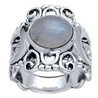 Moonstone Triple Moon Intricate Silver Ring