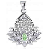 Lotus Flower of Life Peridot Pendant Jewelry Gem Shop  Sterling Silver Jewerly | Gemstone Jewelry | Unique Jewelry