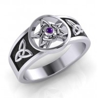 Celtic Trinity Pentacle Amethyst Ring