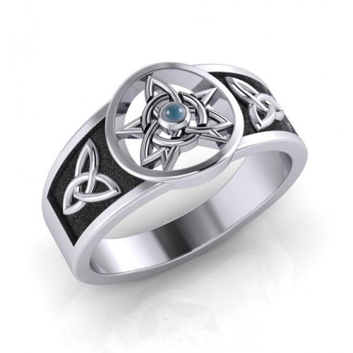 Celtic Trinity Pentacle Blue Topaz Ring at Jewelry Gem Shop,  Sterling Silver Jewerly   Gemstone Jewelry   Unique Jewelry