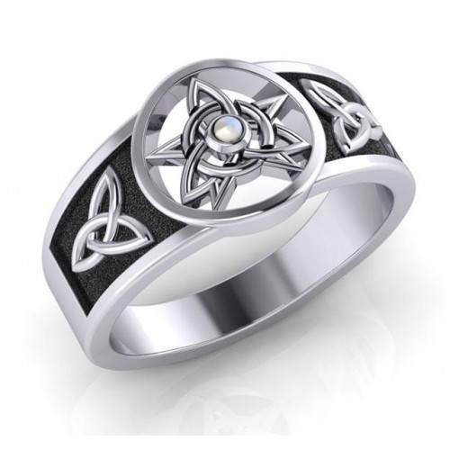 Celtic Trinity Pentacle Rainbow Moonstone Ring at Jewelry Gem Shop,  Sterling Silver Jewerly | Gemstone Jewelry | Unique Jewelry