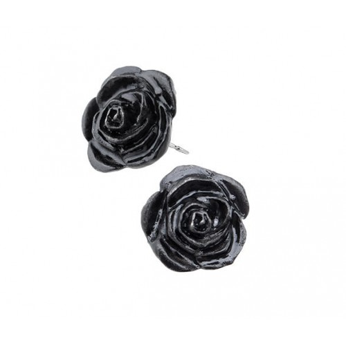 Black Rose Stud Earrings at Jewelry Gem Shop,  Sterling Silver Jewerly | Gemstone Jewelry | Unique Jewelry