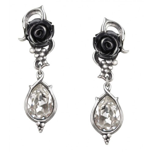 Bacchanal Black Rose Drop Earrings at Jewelry Gem Shop,  Sterling Silver Jewerly | Gemstone Jewelry | Unique Jewelry