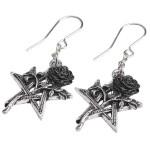 Ruah Vered Pentacle Rose Gothic Earrings