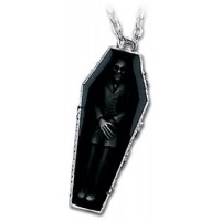 Nosferatus Rest Vampire Coffin Pewter Necklace