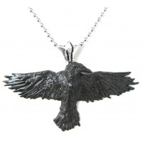 Black Raven Pewter Necklace