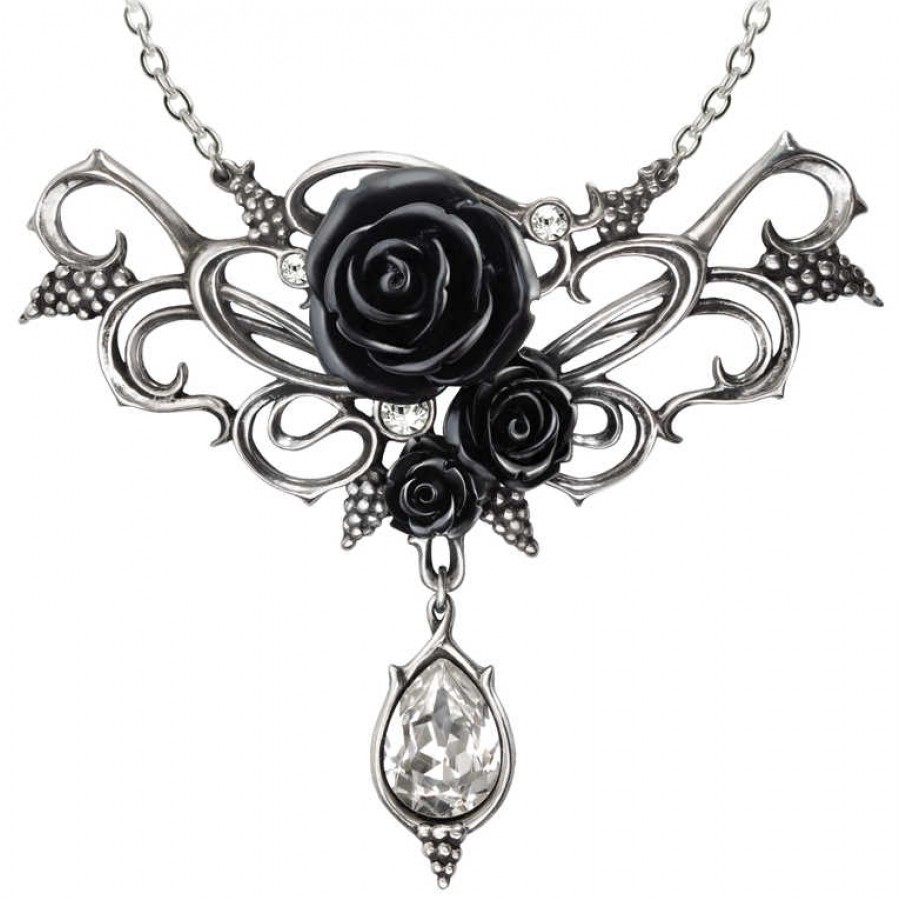 Elegant black rose victorian necklace with crystal drop fine bacchanal black rose victorian necklace aloadofball Choice Image
