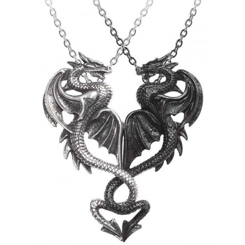 Draconic Tryst Double Dragon Gothic Friendship Necklace at Jewelry Gem Shop,  Sterling Silver Jewerly | Gemstone Jewelry | Unique Jewelry