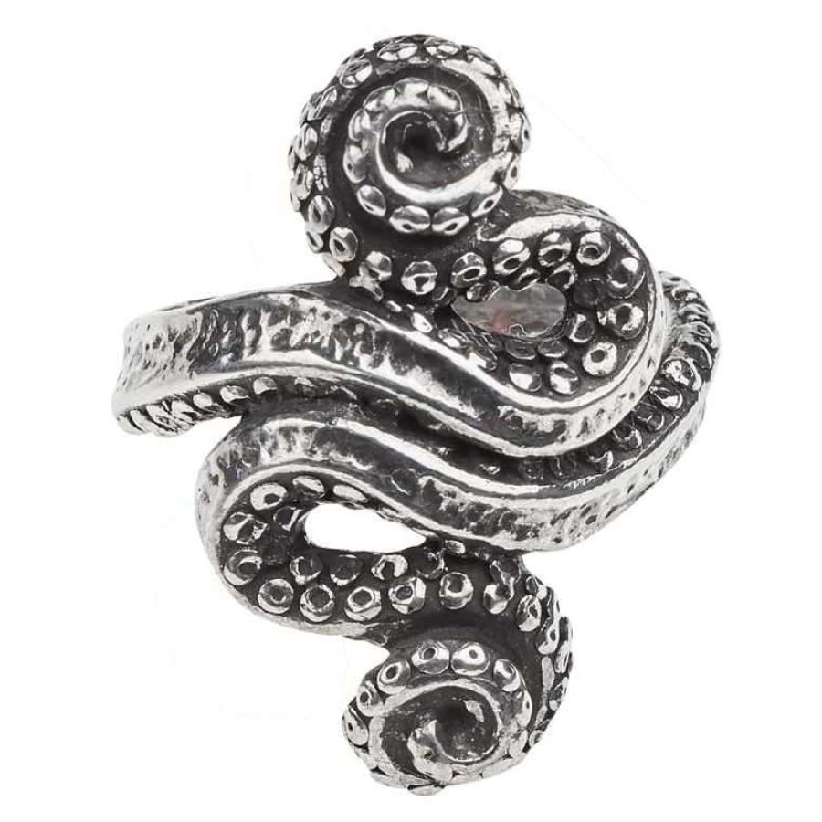 Kraken Octopus Pewter Ring Gothic Jewelry