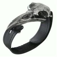 Rabeschadel Pewter Raven Skull Leather Strap Bracelet Jewelry Gem Shop  Sterling Silver Jewerly | Gemstone Jewelry | Unique Jewelry