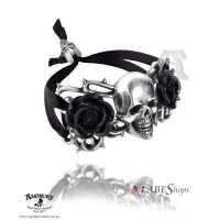 Skull and Briar Rose Pewter Dreadpunk Bracelet Jewelry Gem Shop  Sterling Silver Jewerly | Gemstone Jewelry | Unique Jewelry
