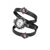 Heartfelt Leather and Pewter Gothic Wrist Wrap Watch
