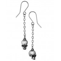 Deadskull Pewter Skull Drop Gothic Earrings