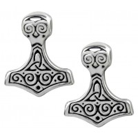 Thor Hammer Pewter Earrings
