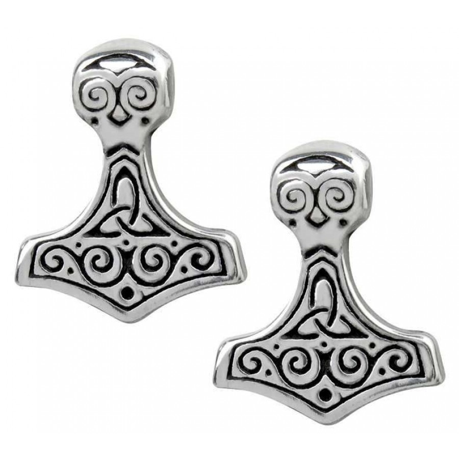 thor hammer pewter earrings norse viking jewelry
