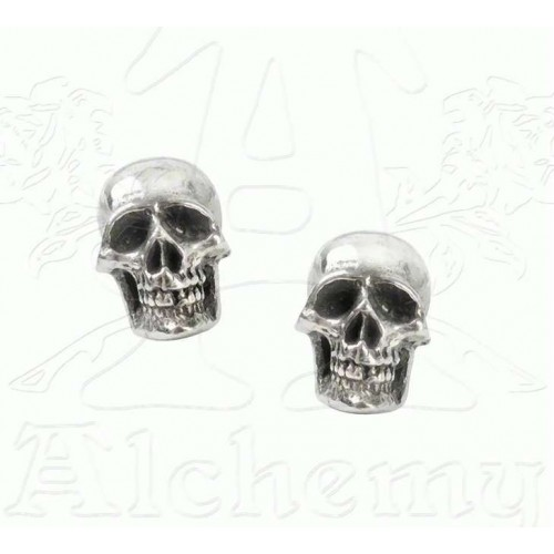 Mortaurium Pewter Skull Stud Earring Pair