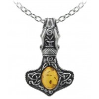 Amber Dragon Thorhammer Pewter Pendant
