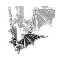 Om Strygia Pewter Bat Necklace