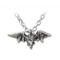 Kiss of the Night Pewter Bat Necklace