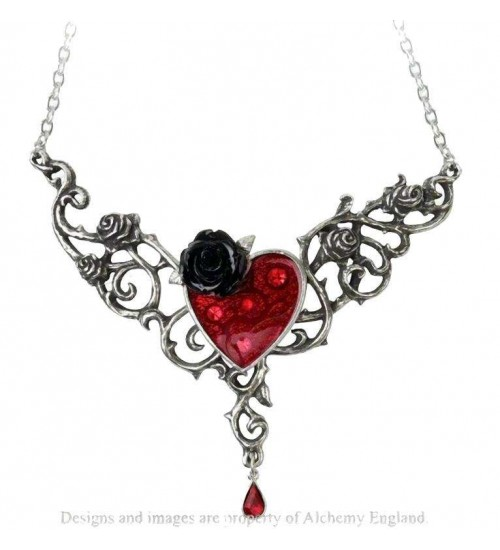 The Blood Rose Heart Pewter Necklace at Jewelry Gem Shop,  Sterling Silver Jewerly   Gemstone Jewelry   Unique Jewelry