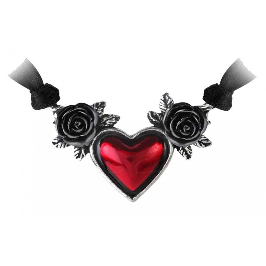 Blood heart black rose heart pewter necklace gothic jewelry blood heart black rose heart pewter necklace at jewelry gem shop sterling silver jewerly aloadofball Gallery