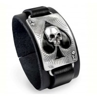 Ace of Dead Spades Leather Strap Bracelet