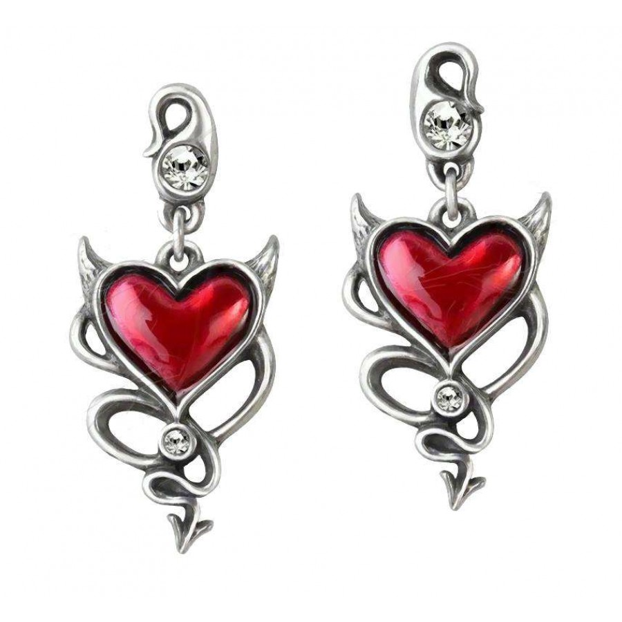 Devil Heart Earring Pair At Jewelry Gem Shop, Sterling Silver Jewerly   Gemstone Jewelry