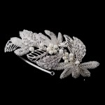 Silver Leaf and Pearl Bridal Headband at Jewelry Gem Shop,  Sterling Silver Jewerly | Gemstone Jewelry | Unique Jewelry