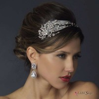 Antique Silver Crystal Feather Bridal Headband