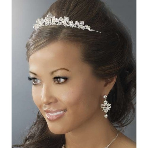Alicia Silver Plated Rhinestone Bridal Tiara at Jewelry Gem Shop,  Sterling Silver Jewerly | Gemstone Jewelry | Unique Jewelry