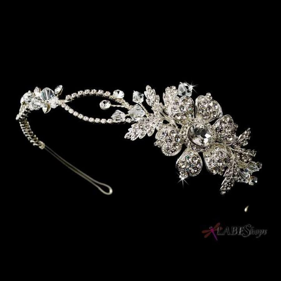 Original Wedding Bride Tiera Large Rhinestones Silver Jewelry & Watches