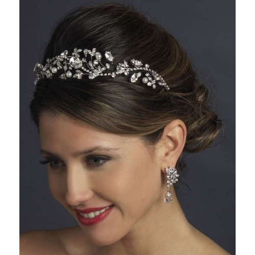 Antique Style Rhinestone and Pearl Headband at Jewelry Gem Shop,  Sterling Silver Jewerly | Gemstone Jewelry | Unique Jewelry