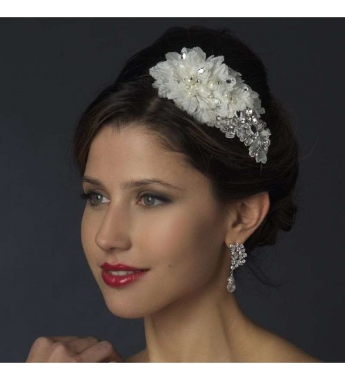 Ivory Floral Applique Headband at Jewelry Gem Shop,  Sterling Silver Jewerly | Gemstone Jewelry | Unique Jewelry