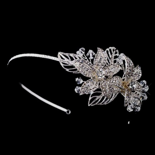 Flower Accented Silver Headband at Jewelry Gem Shop,  Sterling Silver Jewerly   Gemstone Jewelry   Unique Jewelry